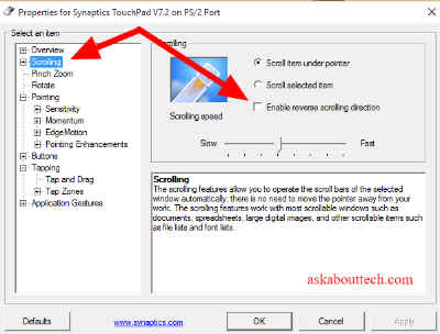 How to enable touchpad scrolling in windows vista for Window scroll function